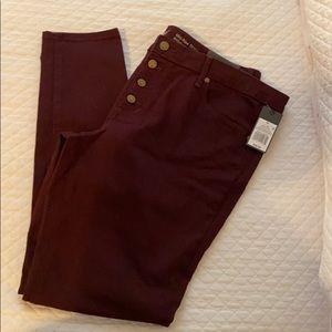 Burgundy Midrise Skinny Jean size 16